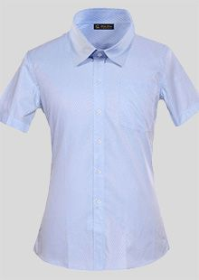 蓝色标准领女士短袖衬衫