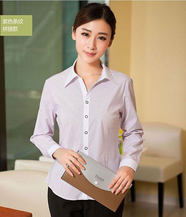 粉色条纹拼接衬衫