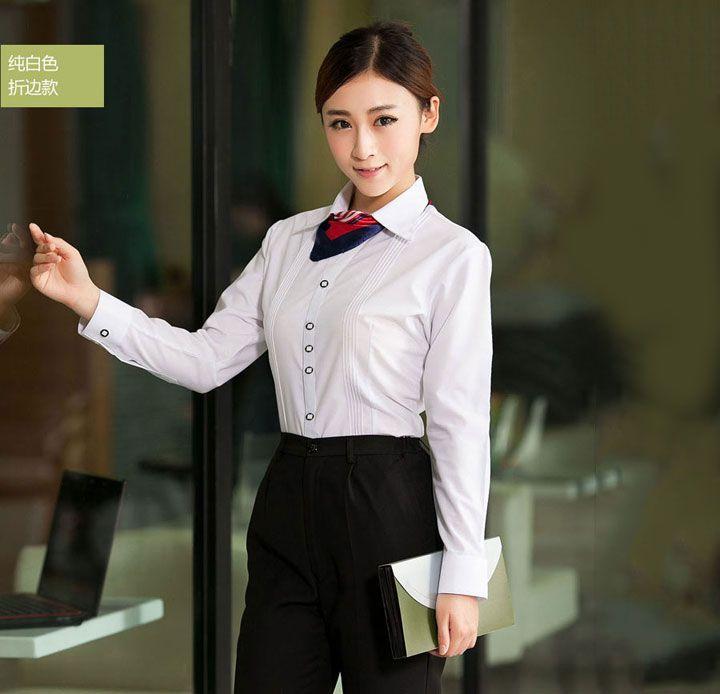 纯白折边女士衬衫