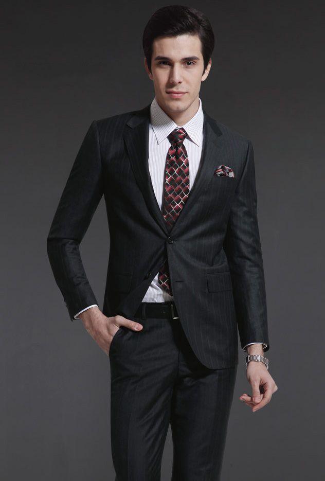 韩版修身男士衬衫_商务男士西服套装款式XF-26 - 黑马服装