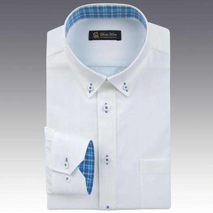男士蓝色长袖衬衫A-02效果图