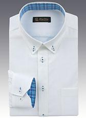 男士长袖衬衫蓝白色A-02