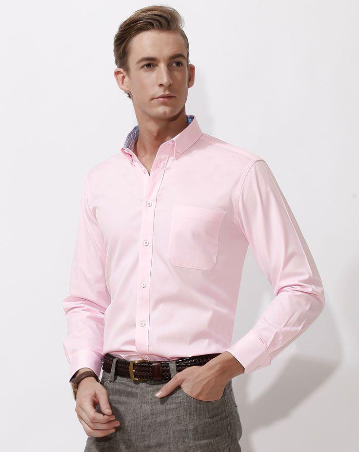 男士长袖衬衫A-03模特效果图 粉色