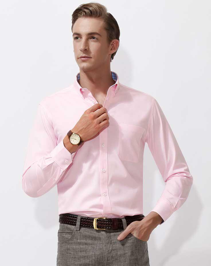 男士长袖衬衫A-03模特效果图02 粉色