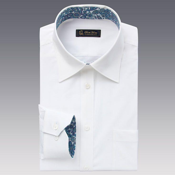 男士白色长袖衬衫A-03效果图