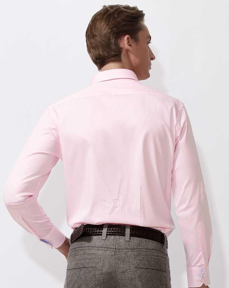 男士长袖衬衫A-03模特背面效果图 粉色