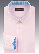 男士长袖扣翻领衬衫 粉红色A-03