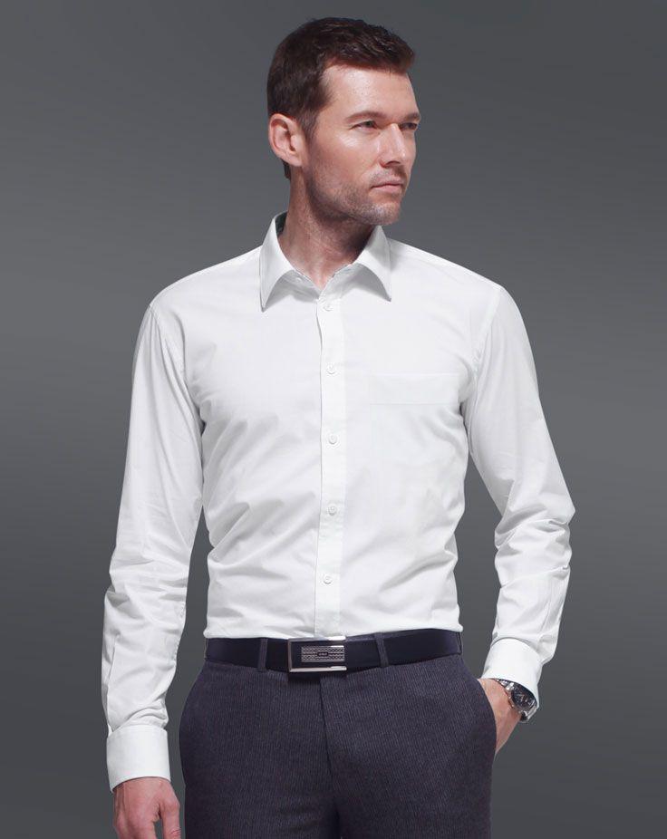 男士长袖衬衫A-04模特正面效果图