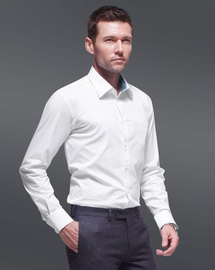 男士长袖衬衫A-04模特侧面效果图