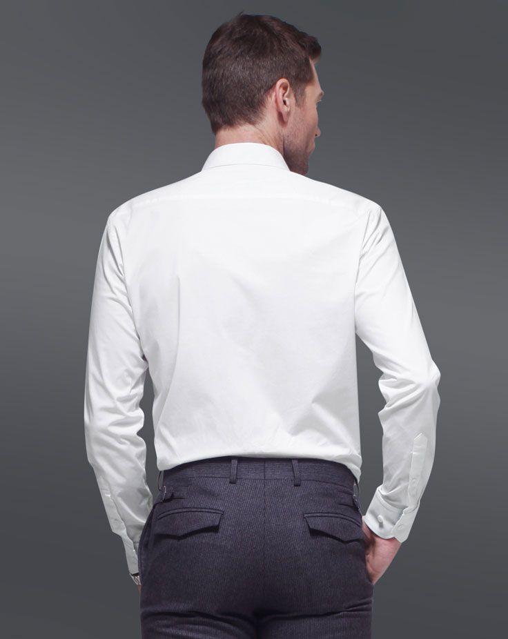 男士长袖衬衫A-04模特背面效果图