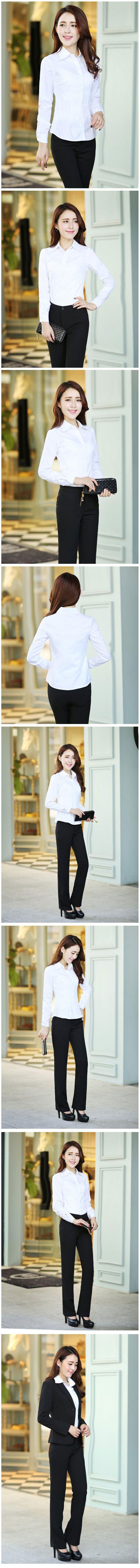 长袖女衬衫M-04白色效果图