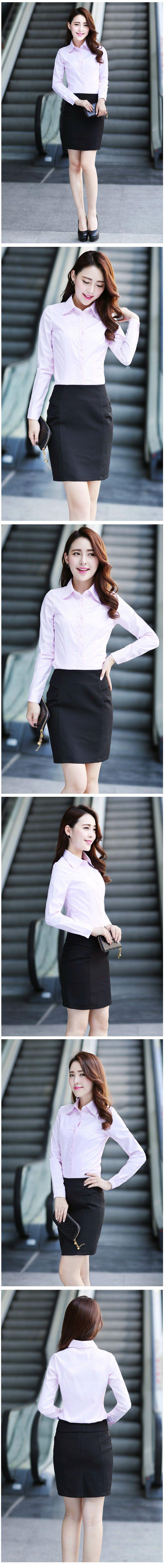 长袖女衬衫M-04粉色效果图