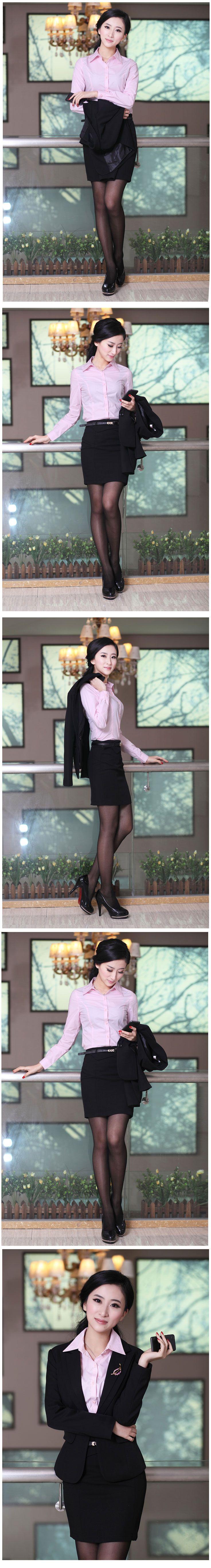 长袖女衬衫M-04粉色搭配效果图
