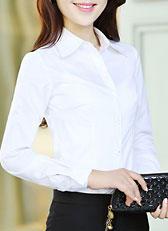 女式长袖大尖领衬衫款式图M-04
