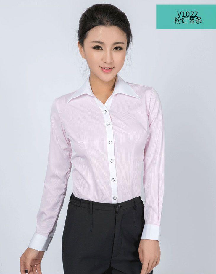 衬衫女长袖_粉红色竖条纹