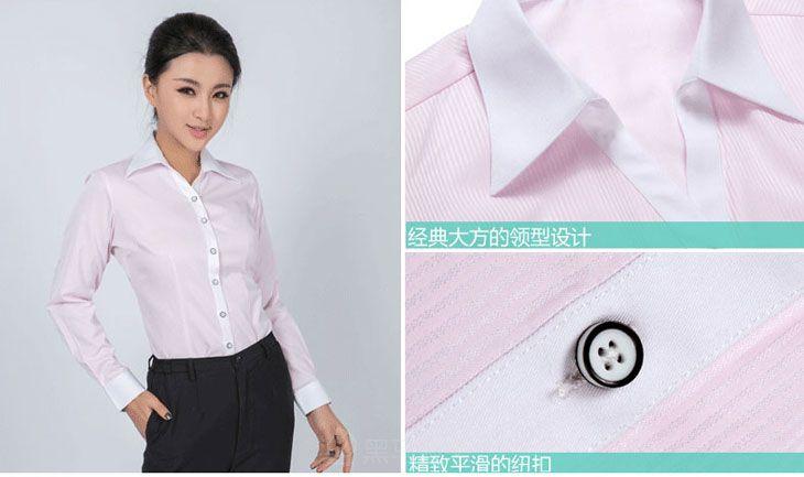 衬衫女长袖细节图_粉红色竖条纹