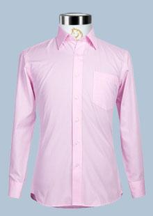 罗蒙素色粉色斜条纹男衬衫