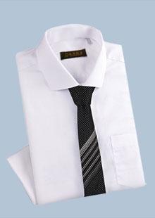 男装纯色纯棉商务修身长袖衬衫
