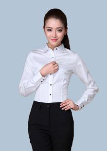 白衬衫女长袖韩版修身职业装丝光棉衬衣