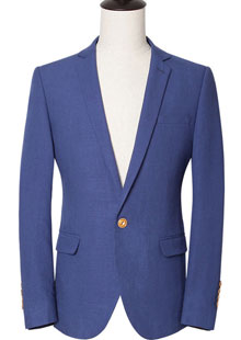 银行西服男士休闲薄款蓝色小西装