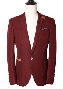 银行男士西服时尚酒红色西服