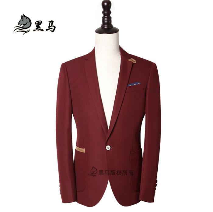 男士酒红色西服_银行男士西服时尚酒红色西服 - 黑马服装