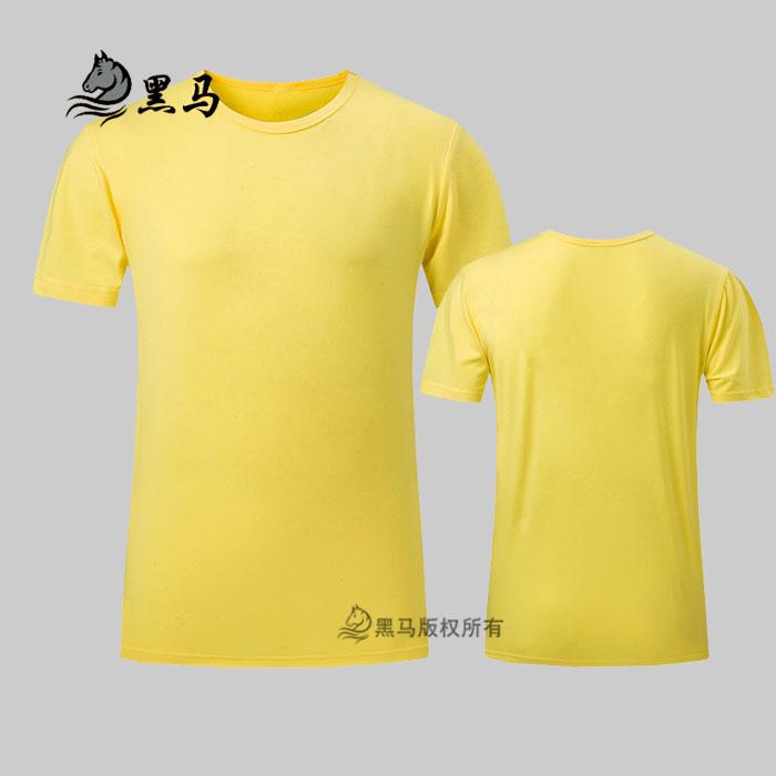 黄色夏季圆领T恤衫