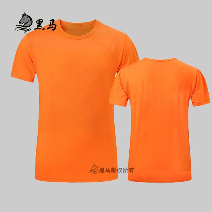 橙色夏季圆领T恤衫