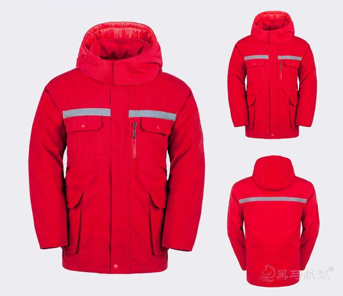 红色冬季工作服棉服