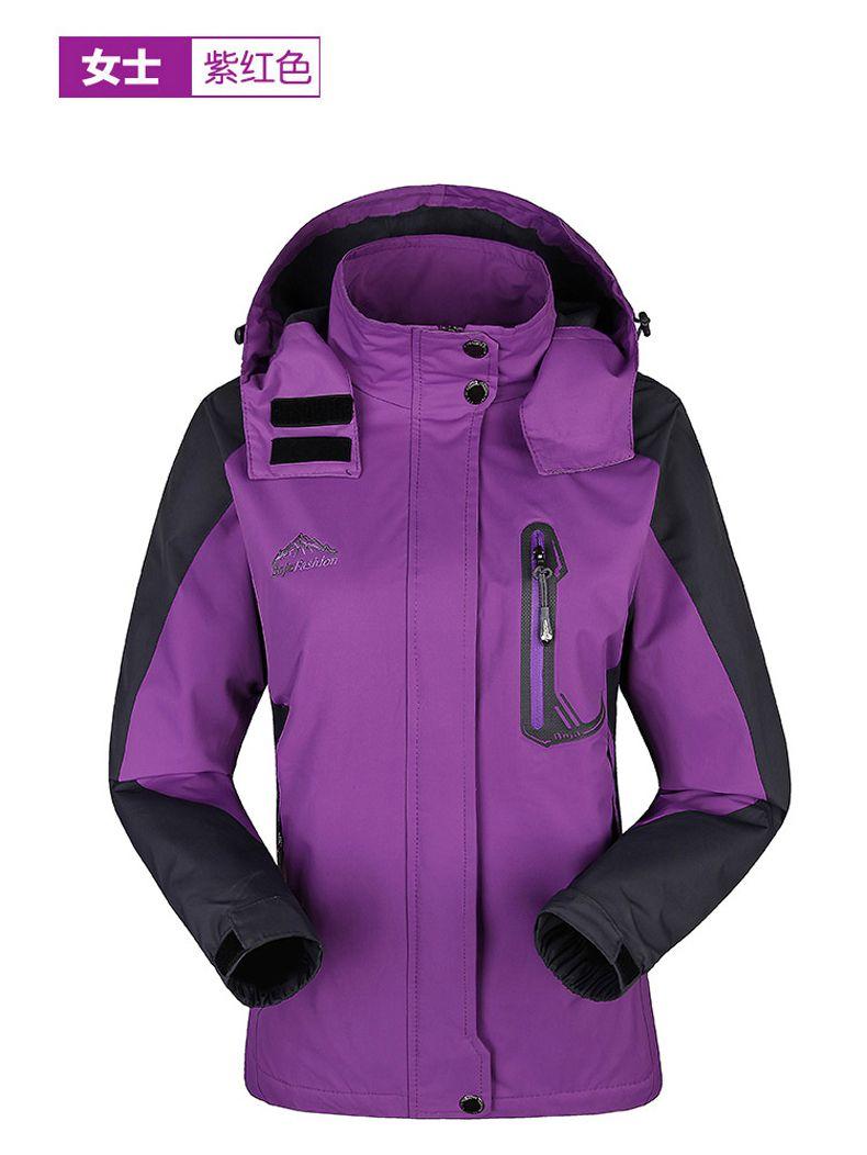 紫红色女式冲锋衣款式图